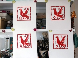 Peru Standing Bird Linocuts Drying