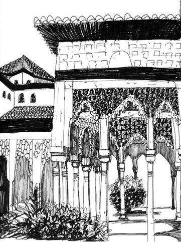 Black pen sketch of Alhambra inner courtyard.