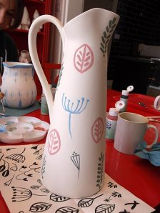 Underglaze paint on pitcher