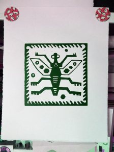 Peru Bug linocut drying