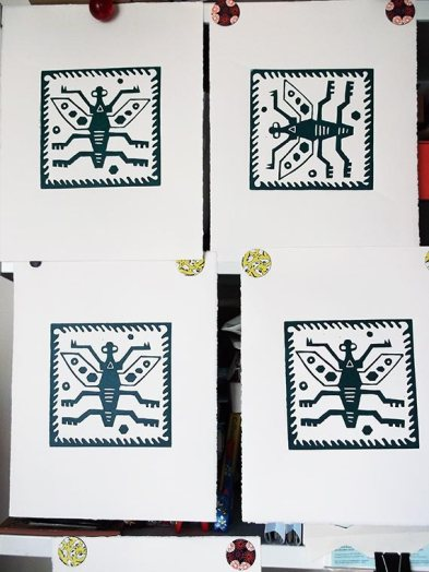 Peru Bug linocuts drying